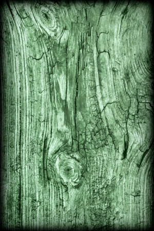 dilapidation: Old Knotted Weathered Rotten Cracked Wooden Rustic Floorboard Coarse Kelly Green Vignetted Grunge Texture Stock Photo