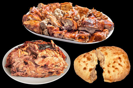 Plateful Of Spit Roasted Pork Slices And Juicy Piglet Ham With Pitta Bread Torn Loaf Isolated On Black Background