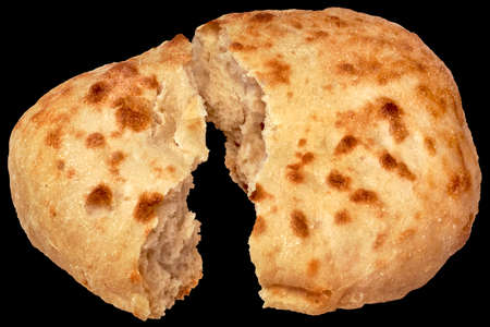 Pitta Bread Torn Loaf Isolated On Black Background Stock Photo