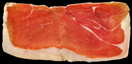 Slice of  Prosciutto Dry Cured Pork Ham Isolated on Black Background Stock Photo