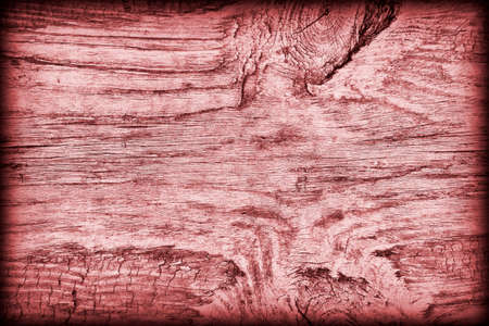 vignetted: Old Knotted Weathered Rotten Cracked Wooden Rustic Floorboard Coarse Red Vignetted Grunge Texture Stock Photo