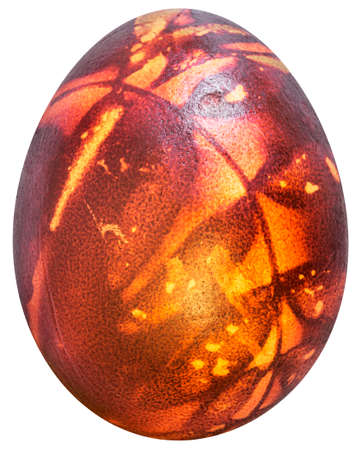 Easter Egg Red Dyed and Decorated with Leaves Imprints Isolated on White Background