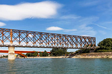 tensed: Old Railroad Bridge Over Sava River - Belgrade - Serbia Stock Photo