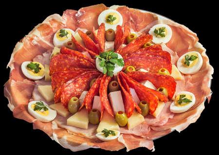 Appetizer Savory Dish Meze Isolated on Black Background