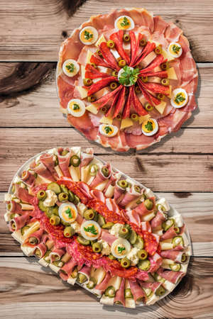 serbian: Appetizer Savory Dishes Meze Set on Knotted Pine Wood Garden Table