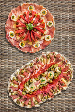serbian: Appetizer Savory Dishes Meze Set on Straw Place Mat