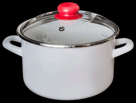 White Enameled Stock Pot with Heath Resistant Glass Lid Isolated On Black Background