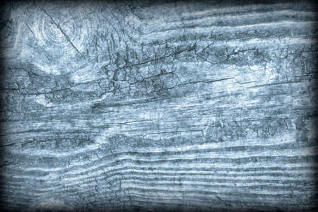 Old Knotted Wood Blue Vignetted Grunge Background Texture Stock Photo