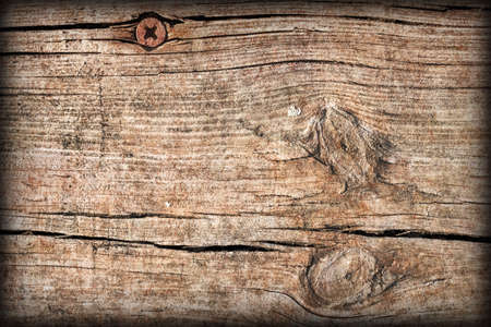 Old Weathered Cracked Knotted Pinewood Plank Vignetted Grunge Texture