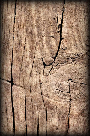 Old Weathered Cracked Knotted Pine Wood Floorboard Vignetted Grunge Texture