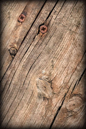 Old Weathered Cracked Knotted Pine Wood Floorboards Vignetted Grunge Texture