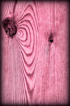 Old Knotted Magenta Pine Wood Board Vignetted Grunge Texture Detail Stock Photo