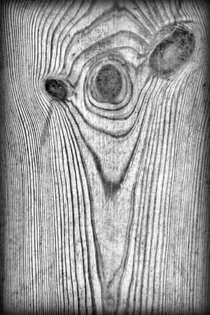 Old Knotted Gray Pine Wood Board Vignetted Grunge Texture Detail