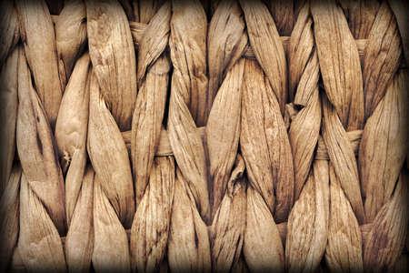 Palm Fiber Place Mat Coarse Plaiting Rustic Vignetted Grunge Texture Detail