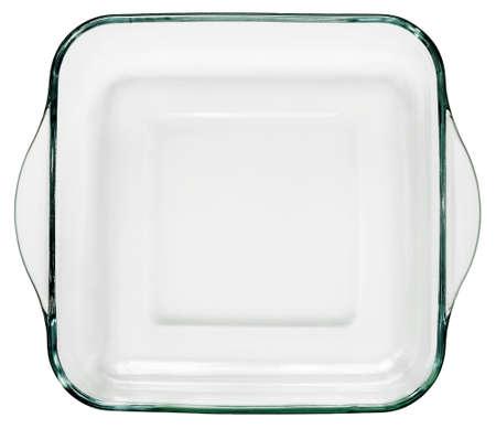 Abgerundete quadratische Glasbackform mit gebogenen Griffen auf weißem Hintergrund