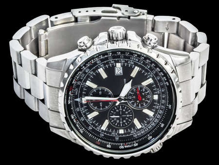 cronógrafo: Sport Electronic Chronograph With Black Dial And Stainless Steel Band Isolated On Black Background