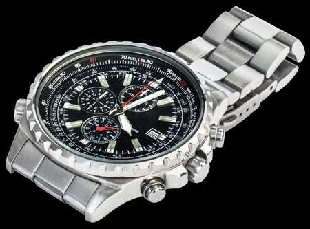 Sport Electronic Chronograph With Black Dial And Stainless Steel Band Isolated On Black Background