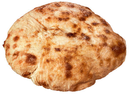 Fireplace Baked Delicious Domestic Traditional Leavened Pitta Flatbread Loaf Isolated On White Background