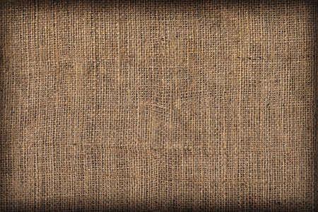 Natural Brown Burlap Canvas Coarse Grain Vignette Grunge Background Texture