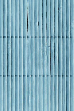 Powder Blue Dyed Rustic Slatted Bamboo Place Mat Interlaced Coarse Grain Grunge Texture Stock Photo