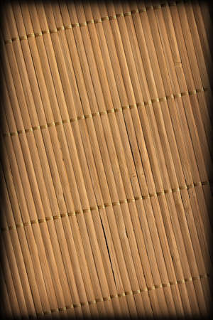 Rustic Natural Brown Bamboo Place Mat Slatted Interlaced Coarse Vignette Grunge Texture Stock Photo