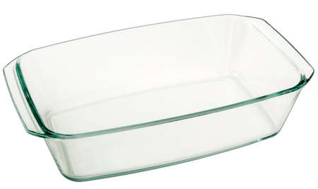 Oblong Heath Resistant Glass Baking Pan Isolated On White Background