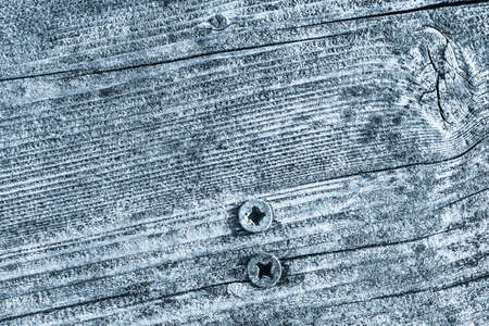 Blue Old Weathered Cracked Knotted Pine Wood Floorboard Grunge Texture With Rusty  Screws Embedded Detail Stock Photo