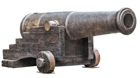 Heavy cast iron fortification smoothbore Carronade, mounted on Garrison Carriage, isolated on white background.