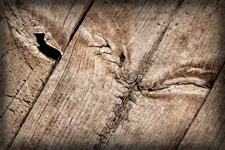 Old Weathered Cracked Knotted Pine Wood Floorboards Vignette Grunge Texture Detail Stock Photo