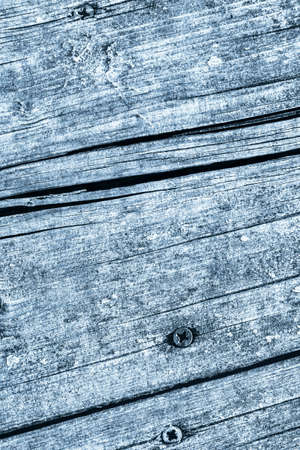 Blue Old Weathered Cracked Knotted Pine Wood Floorboards With Rusty Phillips Screws Embedded Detail Standard-Bild