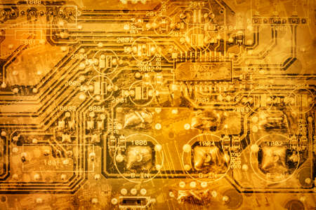 Gold Colored Microcircuit Motherboard Detail Vignette Background