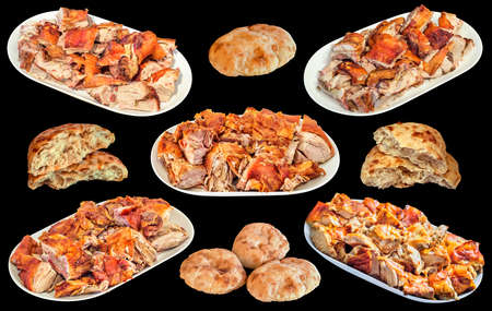 Plateful of Gourmet Tender Juicy Crunchy Spit Roasted Pork Meat Slices with Traditional Freshly Oven Baked Pita Leavened Flatbread Loaves Isolated on Black Background