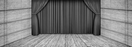 High resolution rustic wooden theater gray stage scenery with lowered curtain