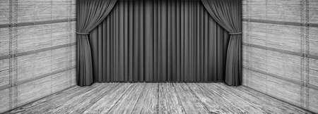 Hochauflösende rustikale Holztheater graue Bühnenlandschaft mit heruntergelassenem Vorhang Standard-Bild