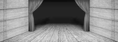 Hochauflösende rustikale Holztheater graue Landschaft mit seitlich gefaltetem Vorhang und verdunkelter leerer Bühne