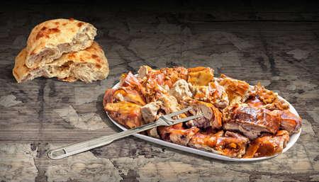 Freshly Spit Roasted Pork Meat and Pita Flatbread Set on Rustic Old Weathered Pinewood Table Vignette Backdrop
