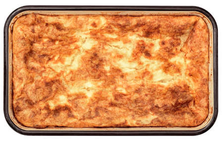 Freshly Baked Cheese Crumpled Pie in Old Enameled Metal Casserole Baking Pan Isolated on White Background