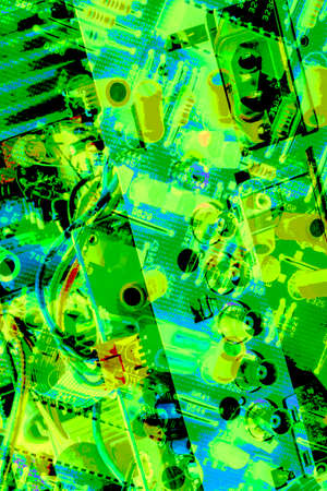Electronic Circuit Board Detail Multicolored Background