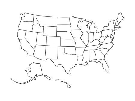 US Map Vector illustration.