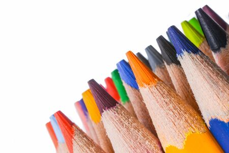 dozen: dozen of colorful pencils on white background