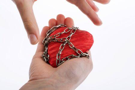 forbidden love: Heart in Chain on white background