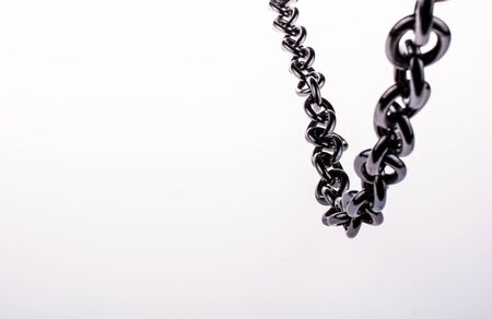 connection connections: metal chain on white background