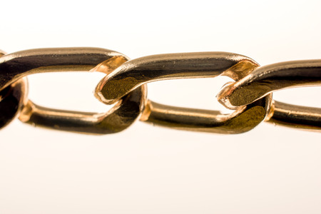 connection connections: gold color metal chain on white background