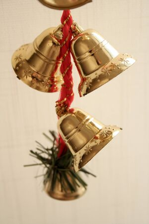 Colorful New Year, Christmas tree bell decoration toys.