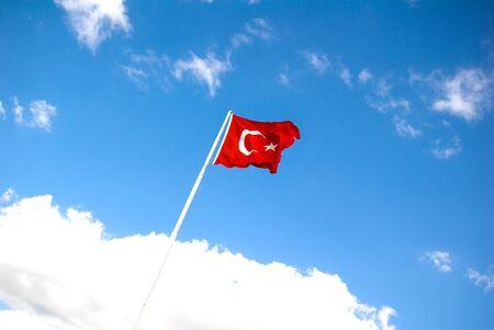 turkiye: Turkish national flag hang on a pole in open air Stock Photo