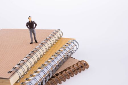 Human Figure standing on spiral notebooks