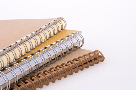 pedagogy: Spiral Notebooks on a white background Stock Photo