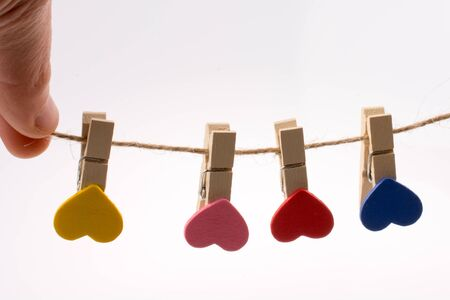 Colorful hearts on clips