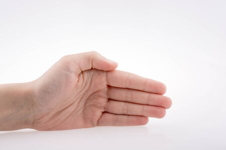 symbol victim: Human hand pointing on a white background