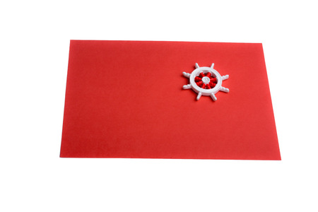 red sheet: isolated steering wheel on a red sheet of paper Stock Photo